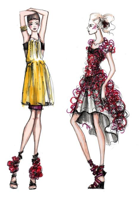 آموزش طراحی لباس با مداد رنگی و ماژِیک