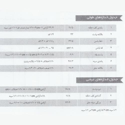 جدول اندازه های طولی و عرضی