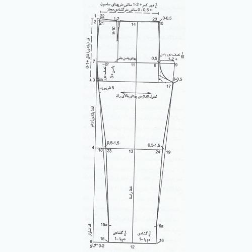 الگوی شلوار زنانه و روش اندازه گیری فاق شلوار